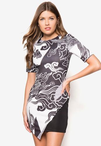 印花裹飾修身洋裝, 服飾, zalora 包包 ptt緊身洋裝