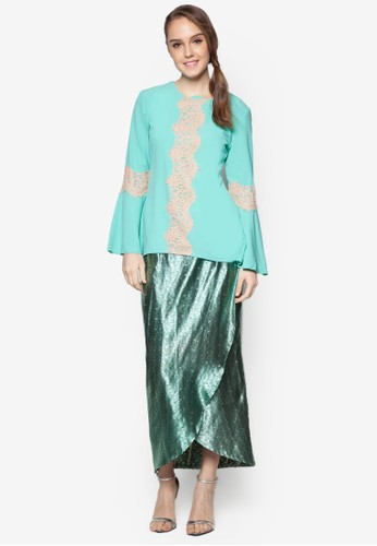 Cattleya Modern Lace Kurung from ARDA PUTRA in Green