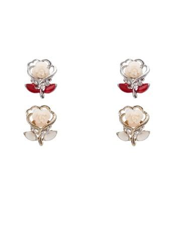 二入玫瑰花造型耳環zalora 手錶, 飾品配件, 飾品配件