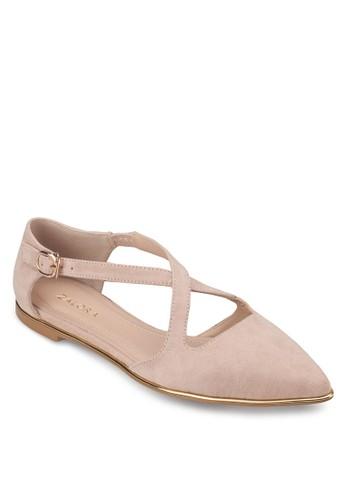 交叉帶尖頭平底鞋, 女鞋, 芭蕾平zalora 心得底鞋