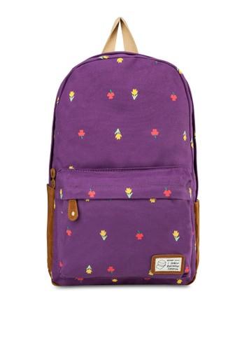 花卉圖案帆布後背包, 包,zalora 心得 飾品配件