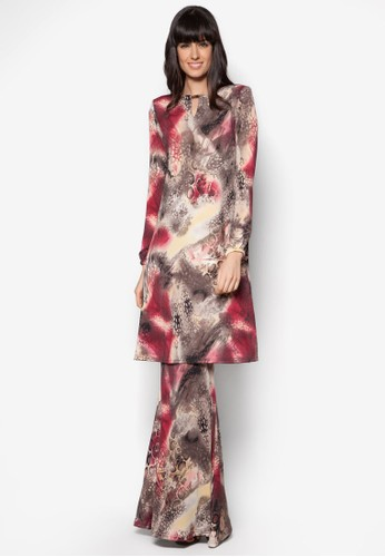 Mini Kurung A Line from Zuco Fashion in Red and Multi and Brown