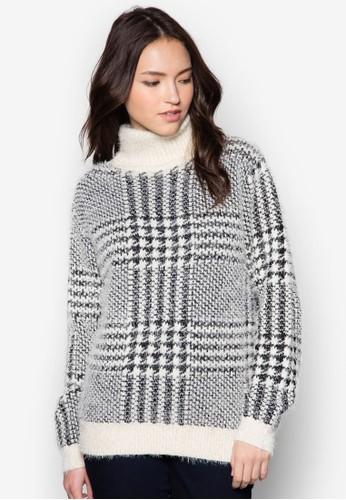 高領格紋針織衫, 服飾, 毛衣zalora 心得& 針織外套