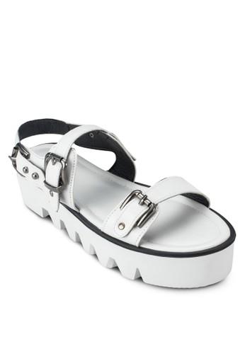 雙扣環寬帶厚底涼鞋, 女鞋zalora 順豐, 涼鞋