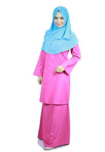 Baju Kurung Moden Ariani -Shock Pink from anisse in Pink
