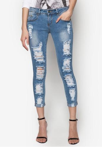 刷破窄管九分牛仔褲, 服飾, 緊身zalora taiwan 時尚購物網牛仔褲