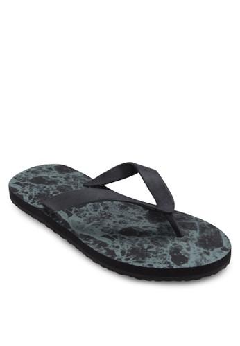 大理石印花夾zalora 評價腳拖鞋, 鞋, 鞋