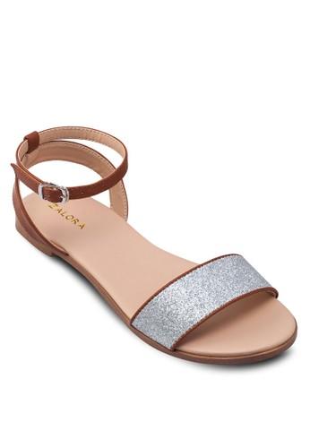 閃飾zalora退貨一字帶繞踝涼鞋, 女鞋, 涼鞋