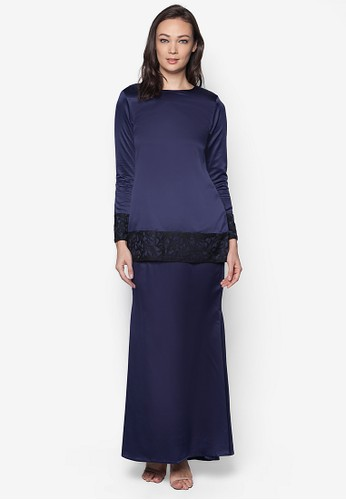 Sahara Kurung Modern from Izzabell Couture in Blue and Navy