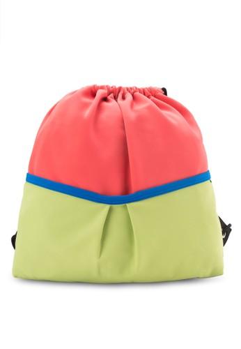 撞色抽繩後背包,zalora 內衣 包, 包