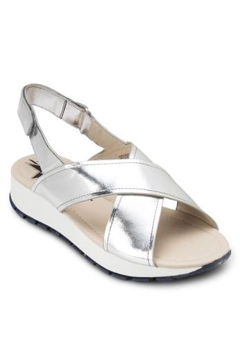 亮面交叉繞zalora 衣服評價踝厚底涼鞋, 女鞋, 鞋