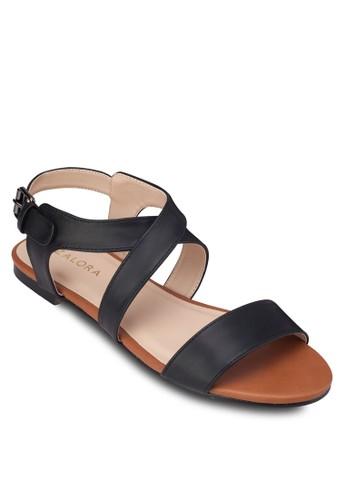 交叉繞踝平底涼鞋, 女鞋,zalora鞋子評價 涼鞋