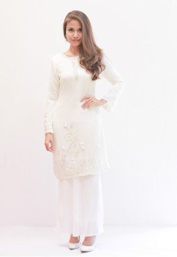 Baju Kurung Moden from Sweetheart in White