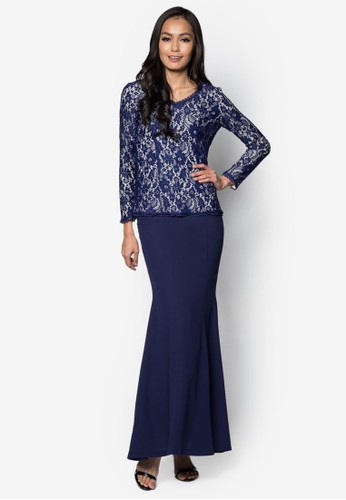 Baju Kurung Moden Lace – Vercato Tasha from VERCATO in Blue and Navy