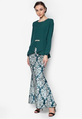 Kebaya Peplum Midi Kurung from Zuco Fashion in Green