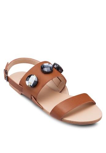 zalora 鞋評價閃飾繞踝平底涼鞋, 女鞋, 鞋
