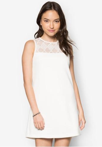 透膚蕾絲拼接直筒洋裝, 服zalora鞋子評價飾, 洋裝