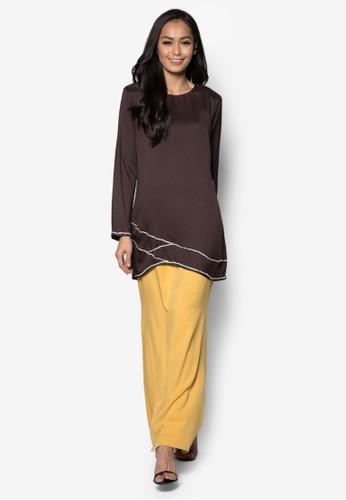 Baju Kurung Modern from Gene Martino in Yellow and Brown