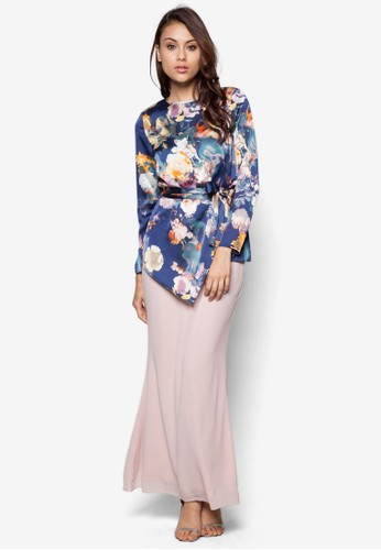 Sweet Romance Baju Kurung Moden from Zolace in Pink and Blue