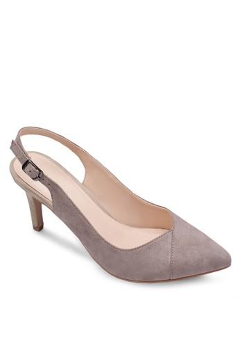 撞色拼接繞踝高跟鞋, 女鞋,zalora鞋 厚底高跟鞋