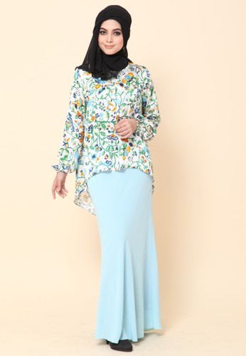 Mini Kurung Fishtail Blue Mint from Dirs in Blue