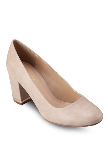 仿皮圓頭金飾zalora 心得粗跟鞋, 女鞋, 厚底高跟鞋