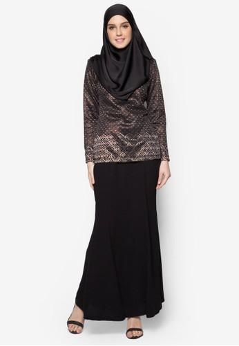 Baju Kurung Moden Qiara from Butik Sireh Pinang in Black