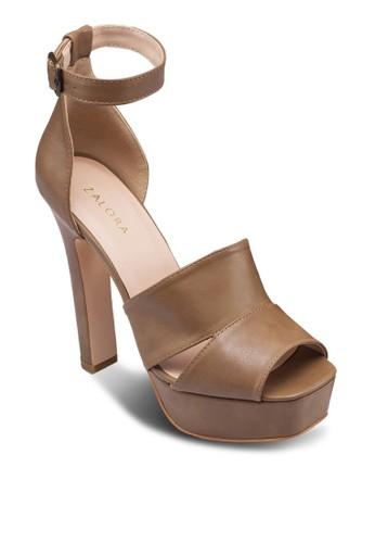 方頭露趾繞踝粗跟涼鞋,zalora 心得 女鞋, 鞋