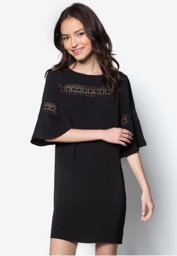 Love 蕾絲拼接五分寬袖連身裙, 服飾, 洋zalora 台灣裝