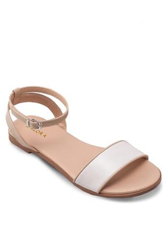 閃飾一字帶繞踝涼鞋, 女鞋, 涼zalora 心得鞋