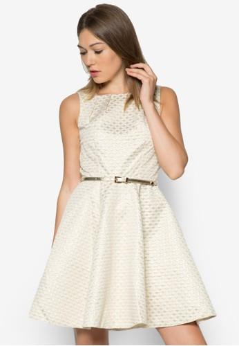 提zalora 包包評價花腰帶無袖洋裝, 服飾, 服飾