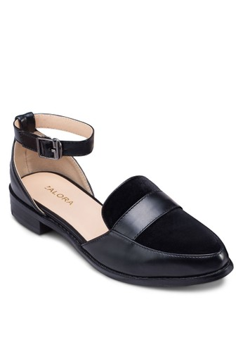 側鏤zalora 心得踝帶尖頭樂福鞋, 女鞋, 船型鞋