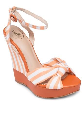 條紋踝帶楔形涼鞋, 女zalora開箱鞋, 魚口楔形鞋