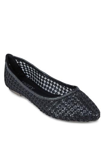 透膚網紗尖頭平底鞋,zalora taiwan 時尚購物網 女鞋, 芭蕾平底鞋