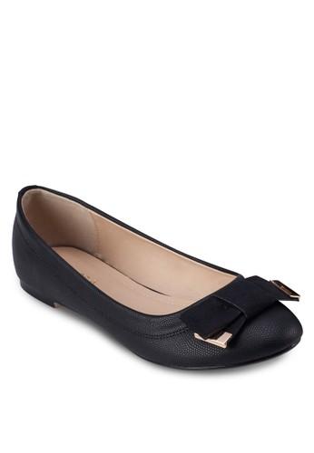 蝴蝶結蛇紋圓頭平底鞋, 女鞋,zalora 手錶 芭蕾平底鞋