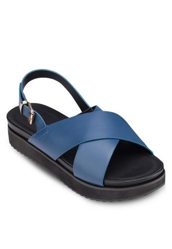 交叉寬帶厚底涼鞋,zalora 心得 女鞋, 涼鞋