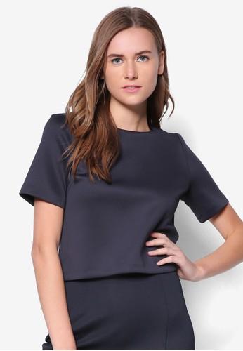 箱型zalora 包包評價剪裁短袖TEE, 服飾, 上衣