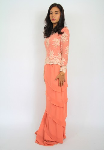 Maya Luxury Peach Laced Modern Kurung EN-0010 – Peach from Efi Nofiani in Orange
