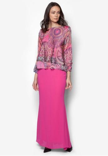 Double Layer Chiffon Midi Kurung from Zuco Fashion in Pink