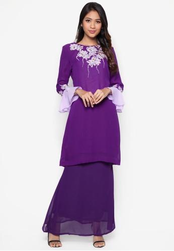 Lace Baju Kurung from Koleksi Kornia in Purple