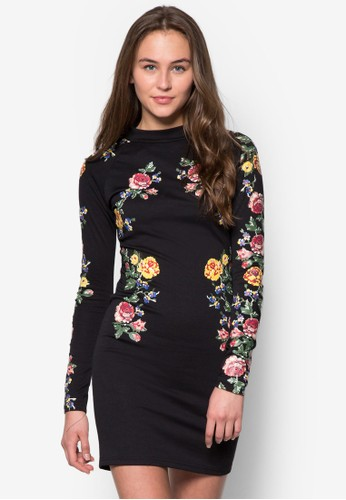 Kimmzalora 評價y 花卉長袖連身裙, 服飾, 服飾