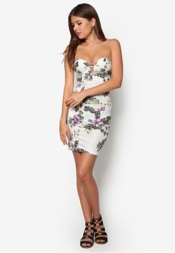 Tammy 露肩心zalora taiwan 時尚購物網鞋子型領貼身洋裝, 服飾, 夏日洋裝
