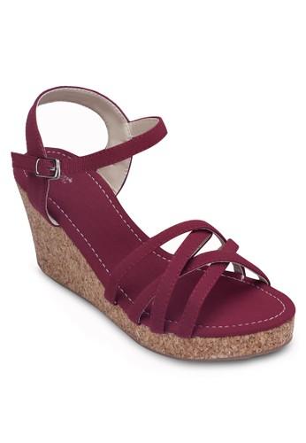 交叉多帶楔型跟鞋, 女鞋, 楔形涼zalora鞋子評價鞋