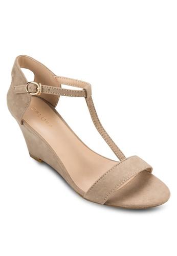 時尚T 字帶楔形涼鞋, zalora 折扣碼女鞋, 楔形涼鞋