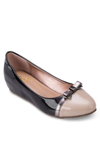 金屬蝴zalora 心得蝶結拼色平底鞋, 女鞋, 芭蕾平底鞋