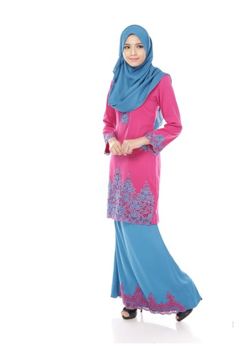 Maribeli Butik Jasmine Kurung – Purple (dark Raspberry Blue Sapphire) from Maribeli Butik in Blue and Purple