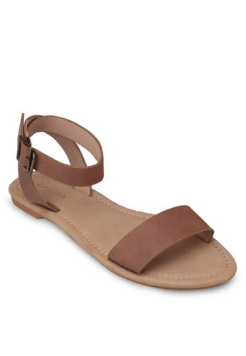 仿zalora 心得皮繞踝帶平底涼鞋, 女鞋, 涼鞋