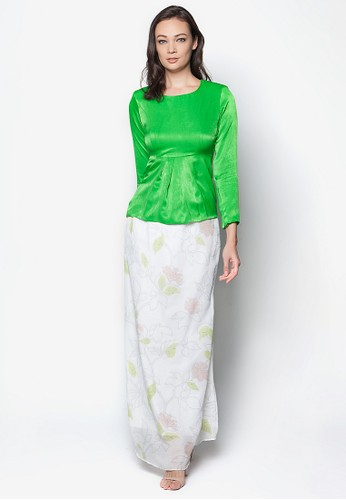 Calalily Kurung Peplum from Izzabell Couture in Green and Multi