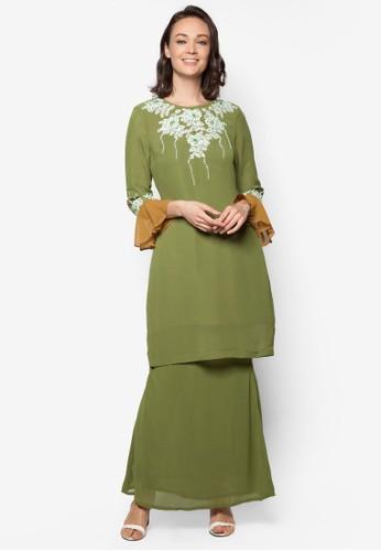 Lace Baju Kurung from Koleksi Kornia in Green