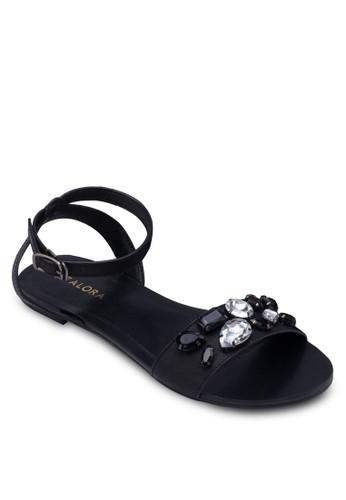 閃飾一字帶平底zalora 台灣涼鞋, 女鞋, 鞋